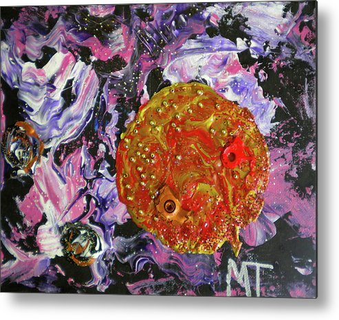 Earth Metal Print featuring the painting Midnight Transit Planet by Dylan Chambers