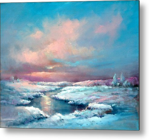 Snow Metal Print featuring the painting Midwest Snowfall by Sally Seago