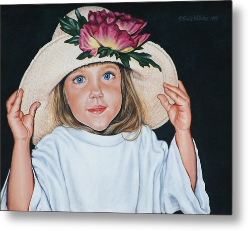 Portrait Metal Print featuring the painting Mommy's Hat by Penny Birch-Williams