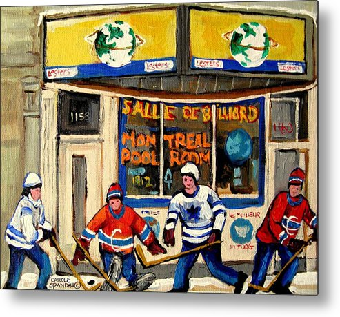 Montreal Metal Print featuring the painting Montreal Poolroom Hockey Fans by Carole Spandau