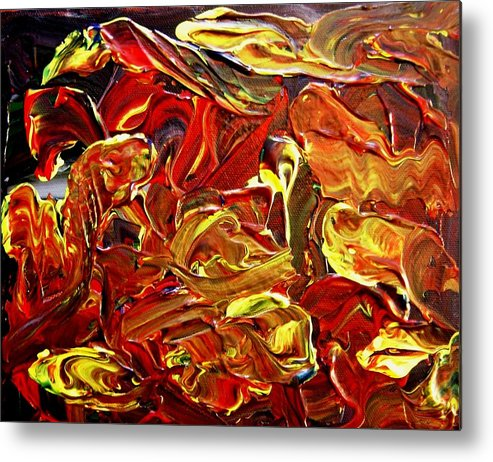 Abstract Metal Print featuring the painting Mummy Mayham by Karen L Christophersen