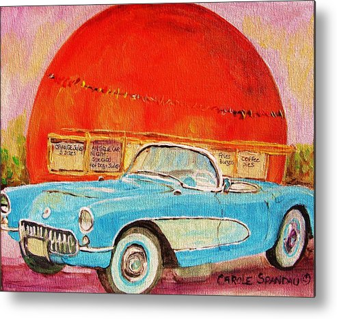 Montreal Metal Print featuring the painting My Blue Corvette At The Orange Julep by Carole Spandau