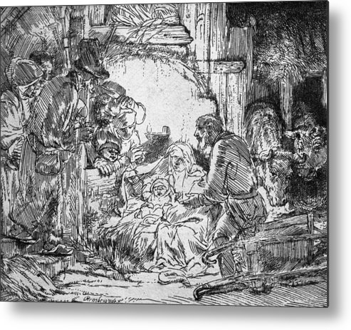 Adoration Of The Shepherds; Shepherd; Infant Jesus Christ; Baby; Child; Joseph; Virgin Mary; Madonna; Holy Family; Stable; Manger; Ox; Oxen; Straw Metal Print featuring the drawing Nativity by Rembrandt