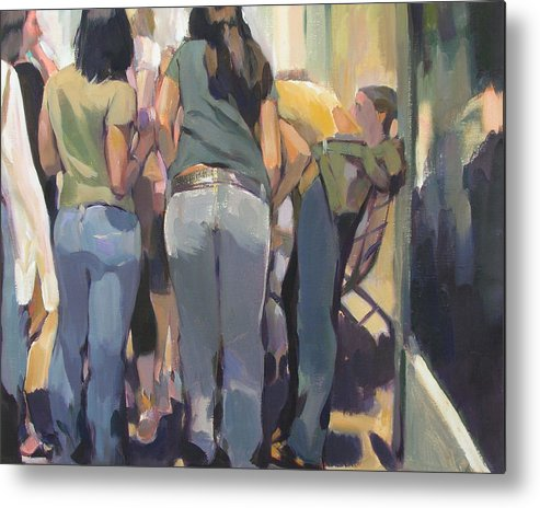 New York Cityscape Showing Teenagers On The Street Metal Print featuring the painting New York Kids by Merle Keller