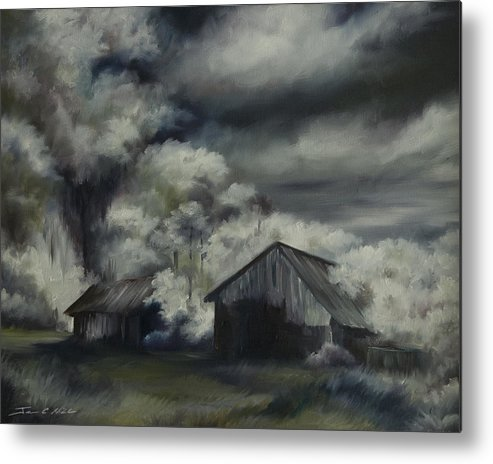 Motel; Route 66; Desert; Abandoned; Delapidated; Lost; Highway; Route 66; Road; Vacancy; Run-down; Building; Old Signage; Nastalgia; Vintage; James Christopher Hill; Jameshillgallery.com; Foliage; Sky; Realism; Oils; Barn Metal Print featuring the painting Night Barn by James Christopher Hill
