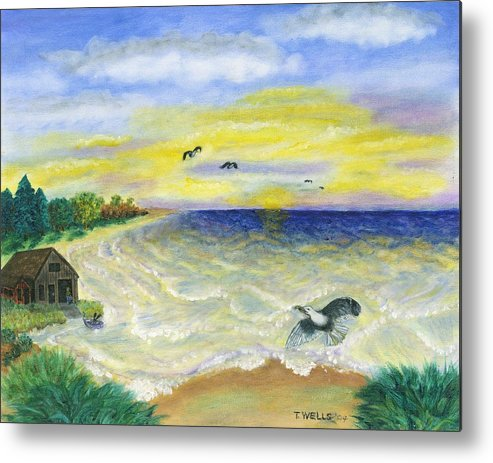Ocean Metal Print featuring the painting Ocean Delight by Tanna Lee M Wells