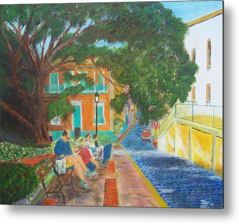 Landscape Metal Print featuring the painting Old San Juan Street Scene by Tony Rodriguez