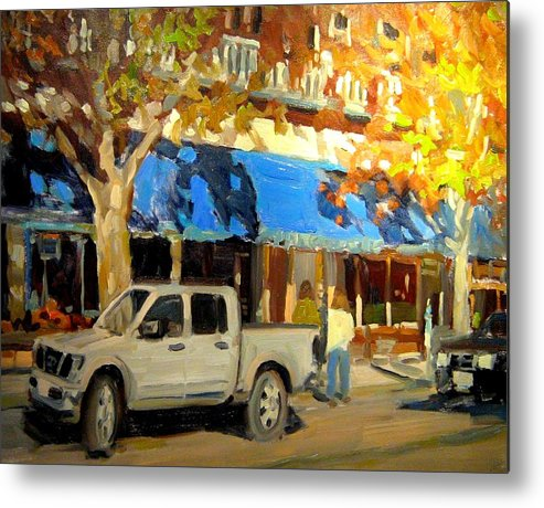 Citscape Paintings Metal Print featuring the painting On Government Street by Brian Simons