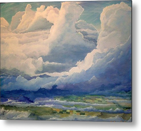 Clouds Metal Print featuring the painting Over Farm Land by John Wise