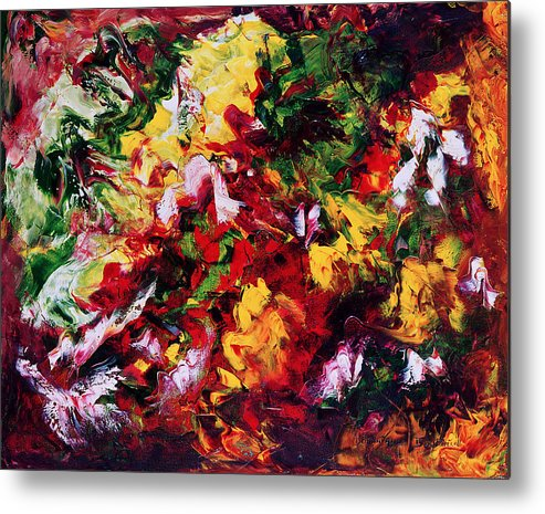 Abstract Metal Print featuring the painting Parterre De Fleurs by Dominique Boutaud