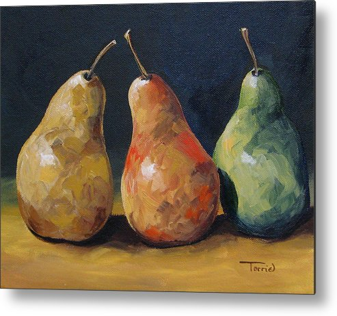 Pear Metal Print featuring the painting Pear Trio by Torrie Smiley