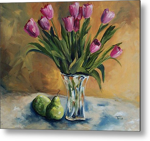 Tulips Metal Print featuring the painting Pears And Pink Tulips by Torrie Smiley