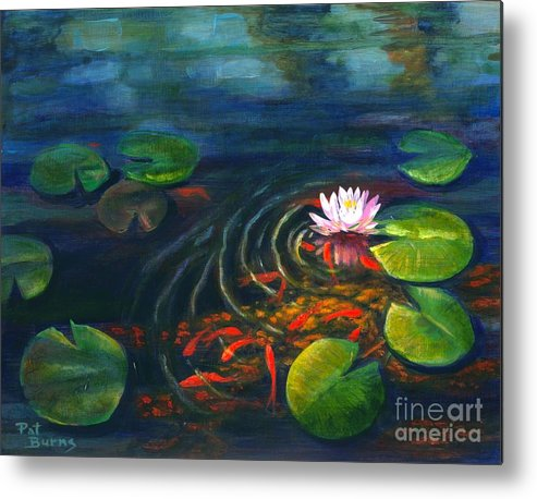 Waterscape Metal Print featuring the painting Pond Jewels by Pat Burns