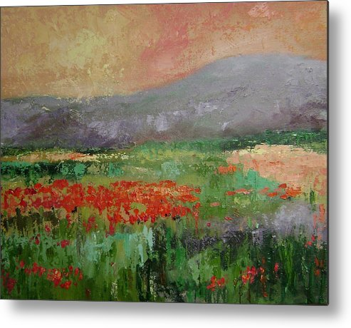 Poppies Metal Print featuring the painting Poppyfield by Ginger Concepcion