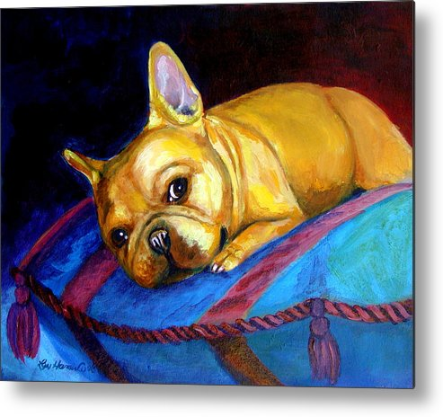 French Bulldog Metal Print featuring the painting Princess And Her Pillow French Bulldog by Lyn Cook