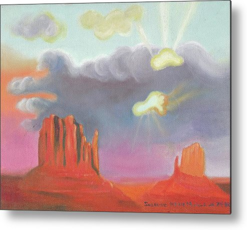 Red Metal Print featuring the painting Red Rock Country by Suzanne Marie Leclair