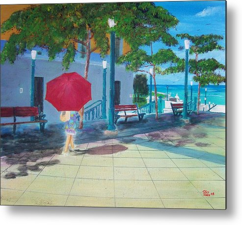 Landscapes Metal Print featuring the painting Red Umbrella In San Juan by Tony Rodriguez
