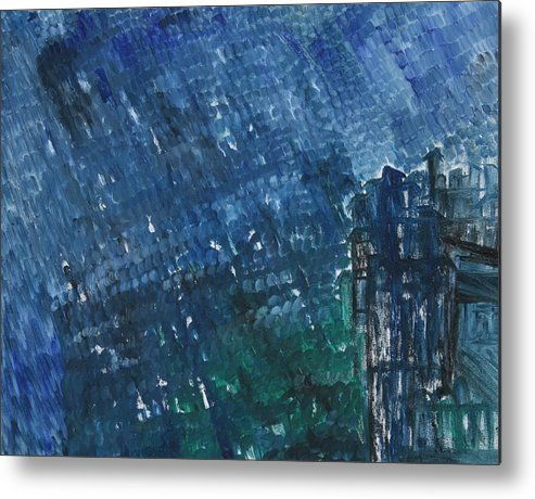 Metal Print featuring the painting River Water Rains by Prakash Bal Joshi
