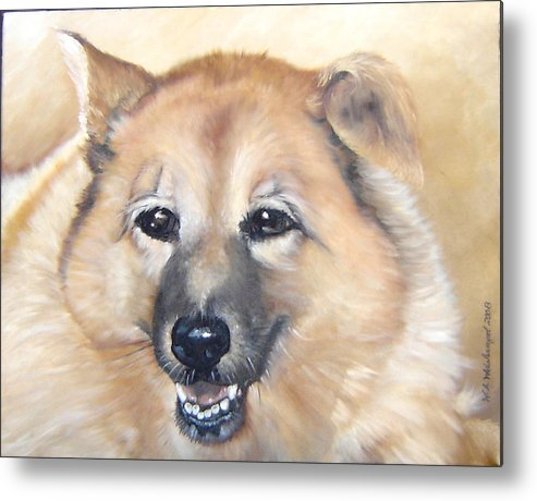 Dog Painting Portraits Dog Oil Paintings Dog Metal Print featuring the painting Sadie by Winifred Ann Weishampel