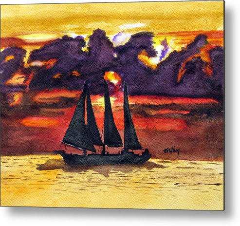 Sunset Metal Print featuring the painting Sail Away With Me by Karla Mathey