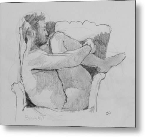 Life Metal Print featuring the drawing Seated Nude 1 by Robert Bissett