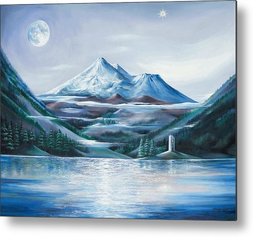 Mystical Landscape Metal Print featuring the painting Shasta Water by Kathleen Boyle Magnuson