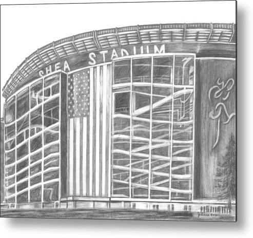 Shea Stadium Metal Print featuring the drawing Shea Stadium by Juliana Dube
