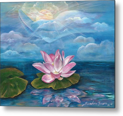 Lotus Metal Print featuring the painting Silent Wisdom by Sundara Fawn
