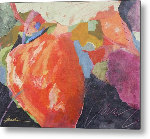 Abstract Metal Print featuring the painting So Juicy by Marie Baehr
