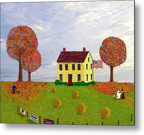 House Metal Print featuring the painting Stone House In Autumn by Paul Little