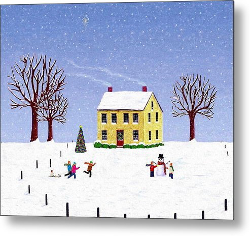Winter Metal Print featuring the painting Stone House In Winter by Paul Little