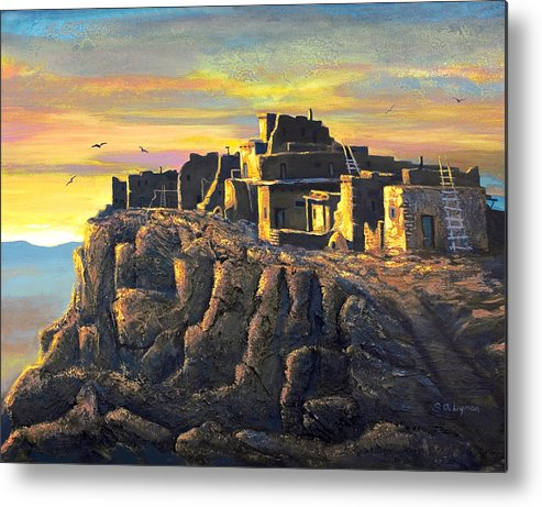 Landscape Metal Print featuring the painting Sunrise Citadel by Brooke Lyman