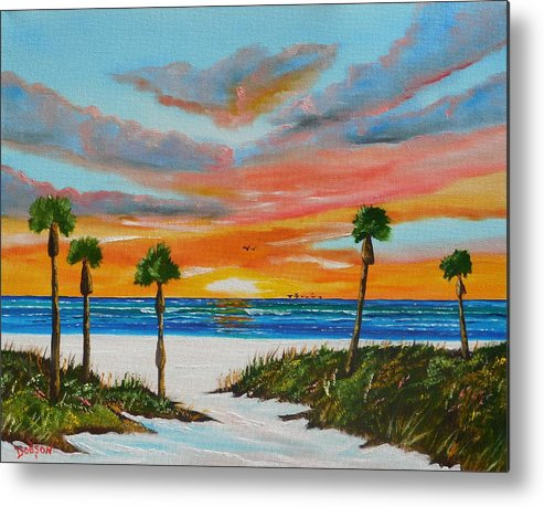 Sunset Metal Print featuring the painting Sunset In Paradise by Lloyd Dobson