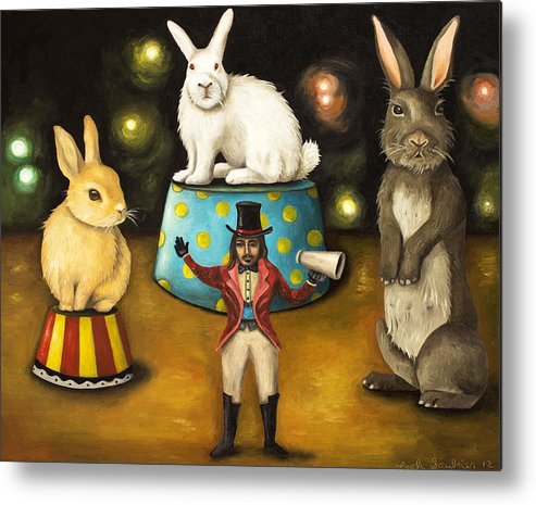 Bunnies Metal Print featuring the painting Taming Of The Giant Bunnies by Leah Saulnier The Painting Maniac