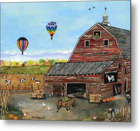 Folk Art Of Old Barn Hot Air Balloons Cows Metal Print featuring the painting The Burch Farm by Sandie Keyser