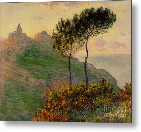 The Church At Varengeville Metal Print featuring the painting The Church At Varengeville Against The Sunlight by Claude Monet