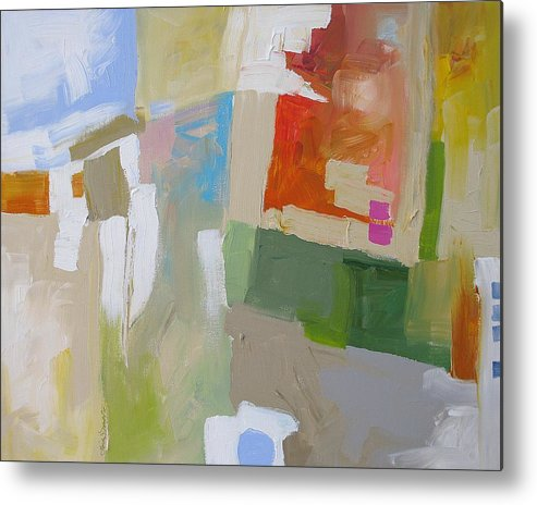 Abstract Metal Print featuring the painting The Green Flash by Linda Monfort