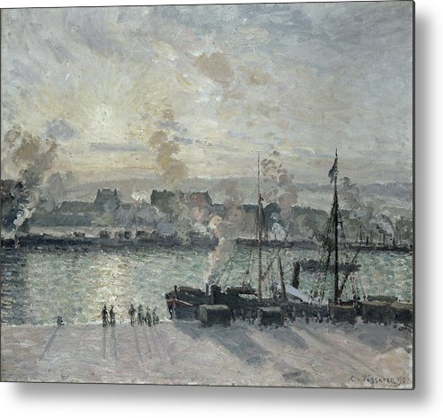 Sunset Metal Print featuring the painting The Port Of Rouen by Camille Pissarro
