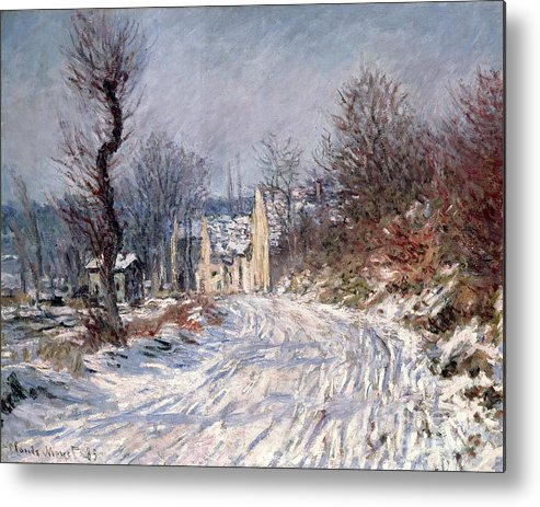 The Metal Print featuring the painting The Road To Giverny In Winter by Claude Monet