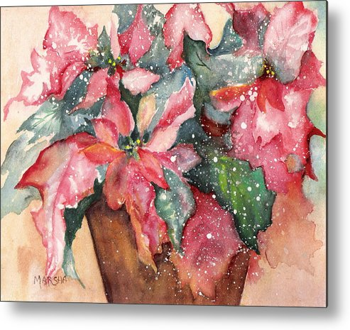 Poinsettia Red Green Holiday Winter Christmas Plant Flower Metal Print featuring the painting 'tis The Season by Marsha Woods