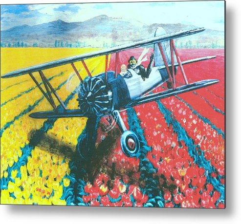 Biplanes Metal Print featuring the painting Tulip Fly-by by George I Perez