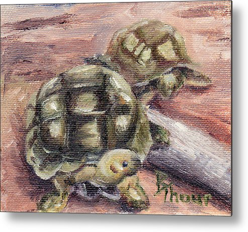 Turtle Metal Print featuring the painting Turtle Friends by Brenda Thour