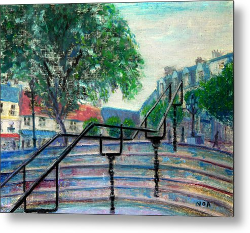 Cityscape Metal Print featuring the painting Twilight On The Place by Aymeric NOA