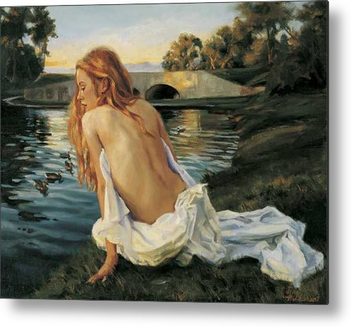 Young Metal Print featuring the painting Twilight Reflection by Jean Hildebrant