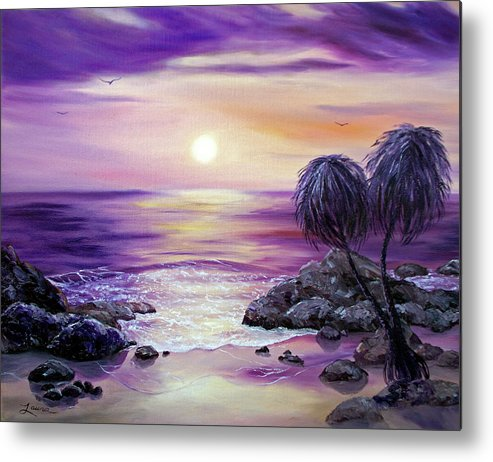 Impressionist Metal Print featuring the painting Unawatuna Beach At Sunset by Laura Iverson