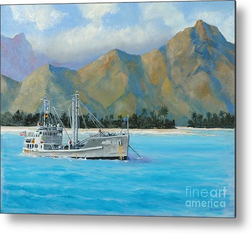 Seascape Metal Print featuring the painting Uss Reluctant Anchored Off Ennui by Glenn Secrest
