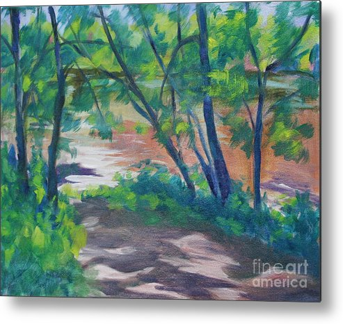 Landscape Metal Print featuring the painting Watercress Beach On The Current River  by Jan Bennicoff