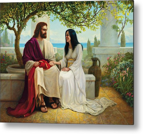 Jesus Metal Print featuring the painting White As Snow by Greg Olsen