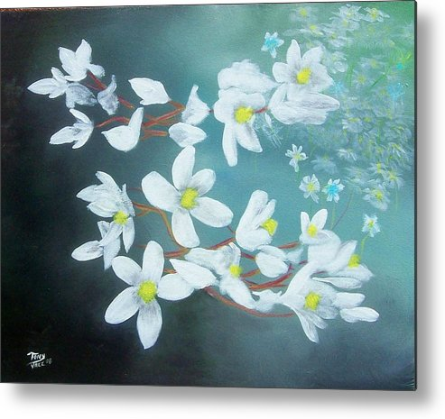 Flowers Metal Print featuring the painting White Flowers by Tony Rodriguez