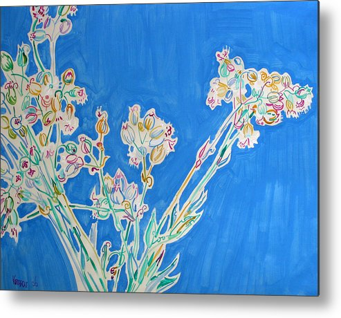 Wild Metal Print featuring the painting Wild Flowers On Blue by Vitali Komarov